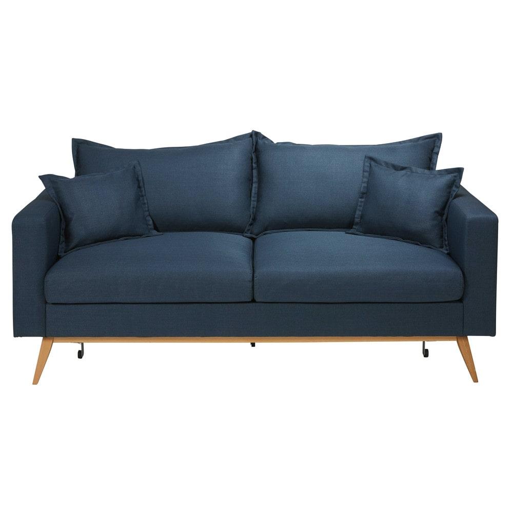 divano letto 3 posti blu notte in tessuto duke | maisons du monde - 2 Posti Divano Letto Blu