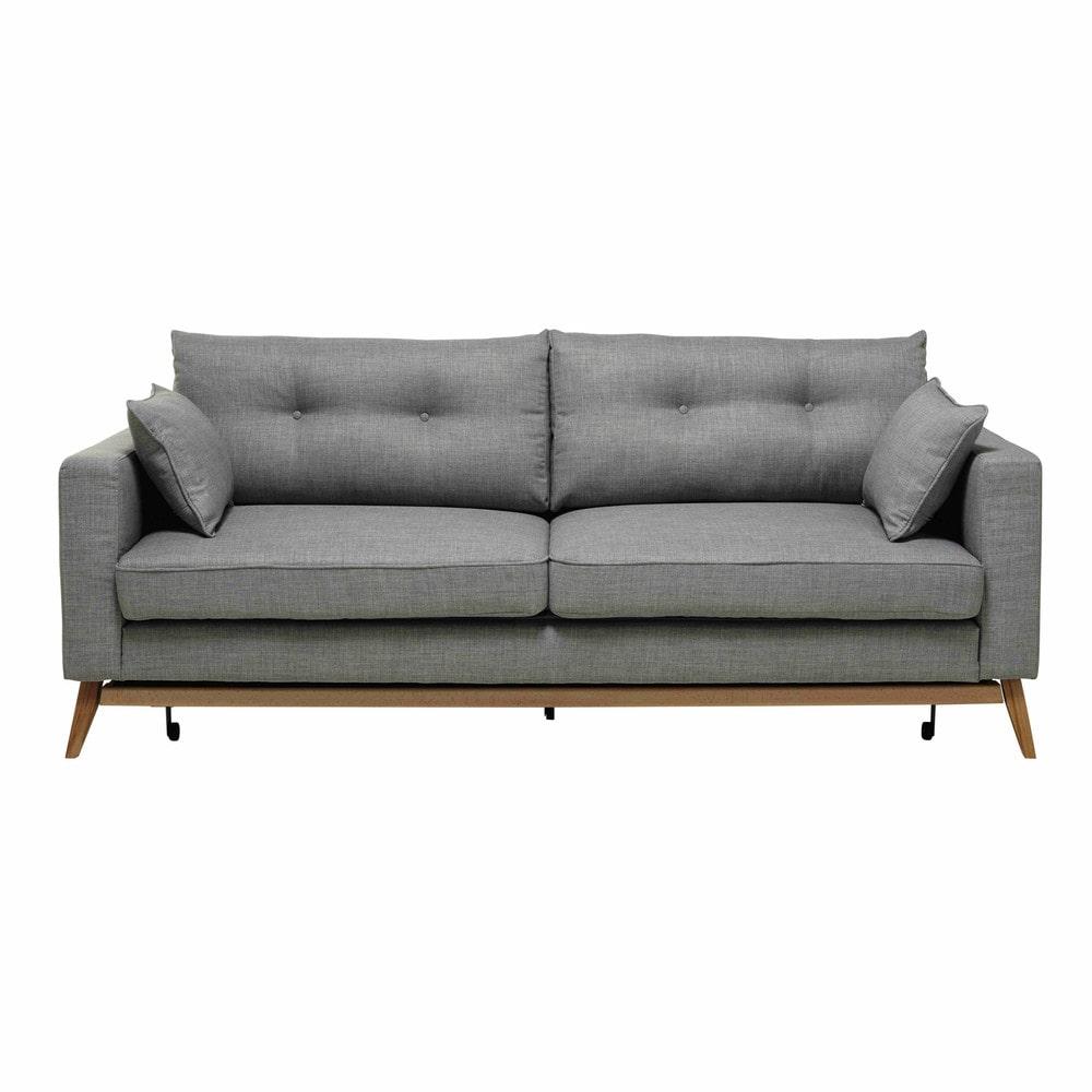 divano letto 3 posti in tessuto grigio chiaro brooke