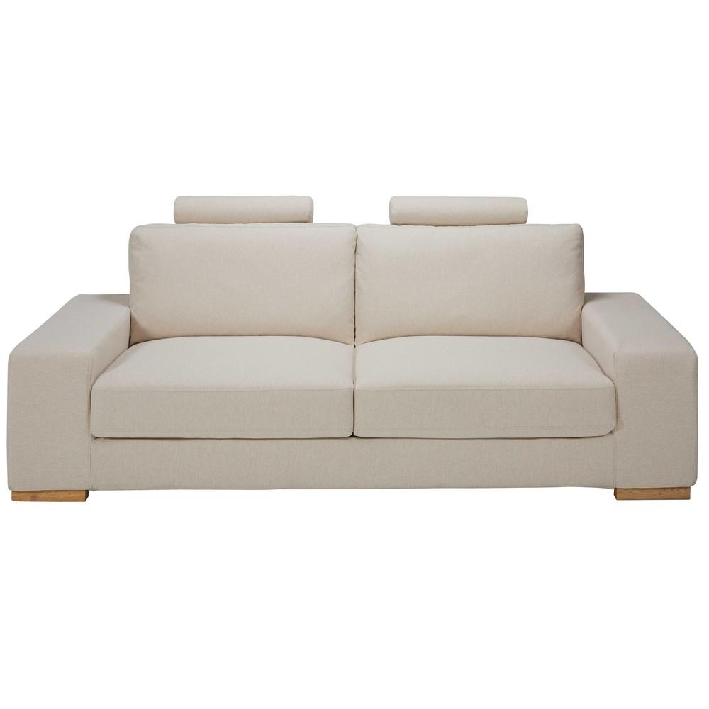 Divano letto con poggiatesta 3 posti beige screziato in - Divano letto in tessuto ...