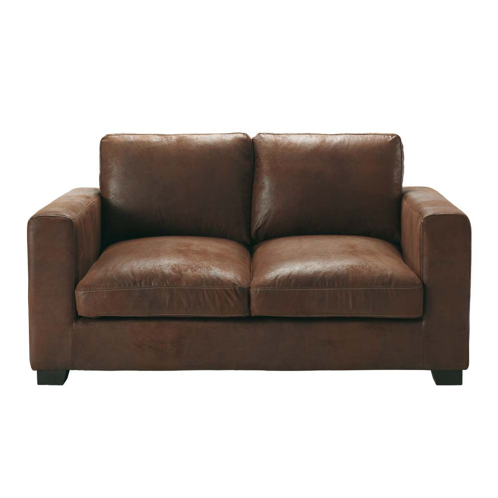 divano marrone in similpelle scamosciata 2 posti kennedy
