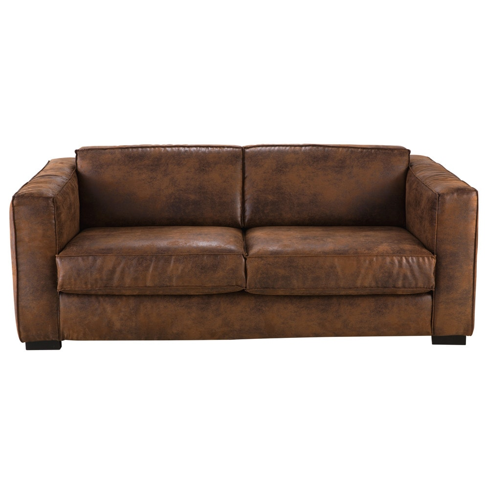 divano trasformabile 3 posti marrone in microfibra berlin