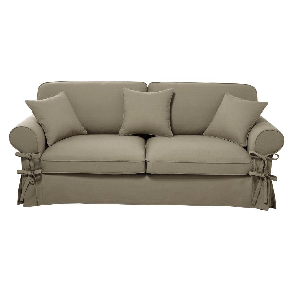 Divano trasformabile beige-grigio chiaro in cotone 3/4 ...