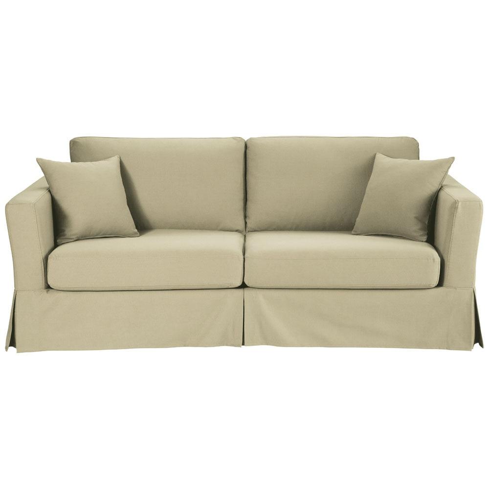 Divano trasformabile beige-grigio chiaro in cotone 3 posti ...