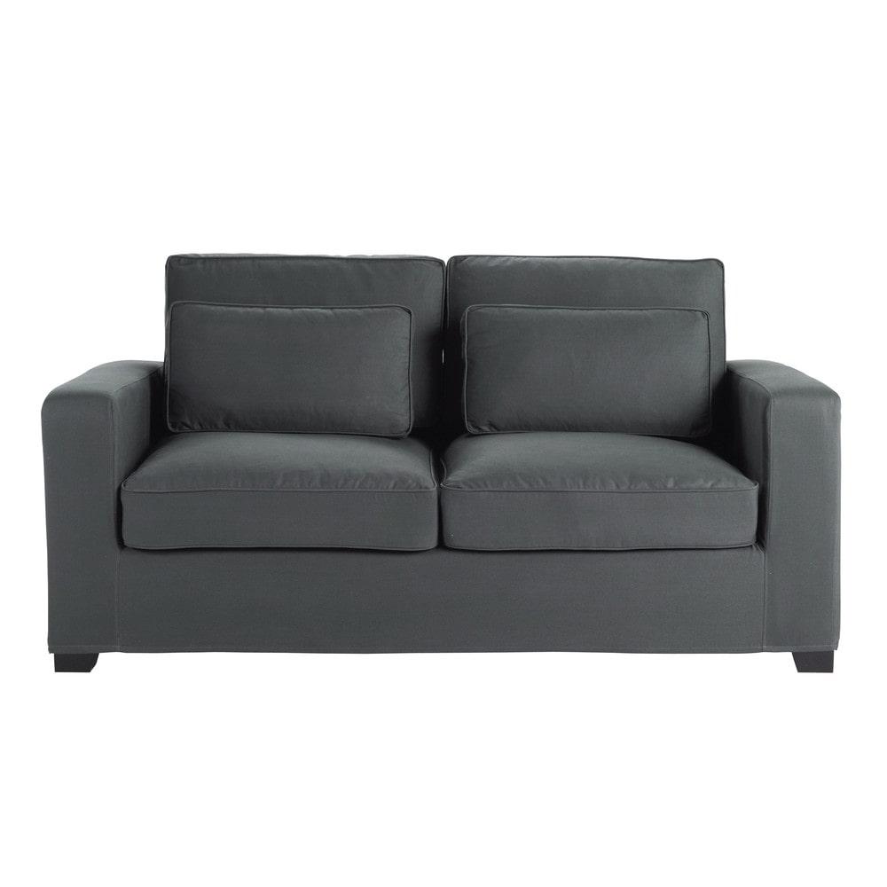 divano trasformabile grigio ardesia in cotone 3 posti, materasso 6 ... - Angolo Tessuto Divano Letto Milano