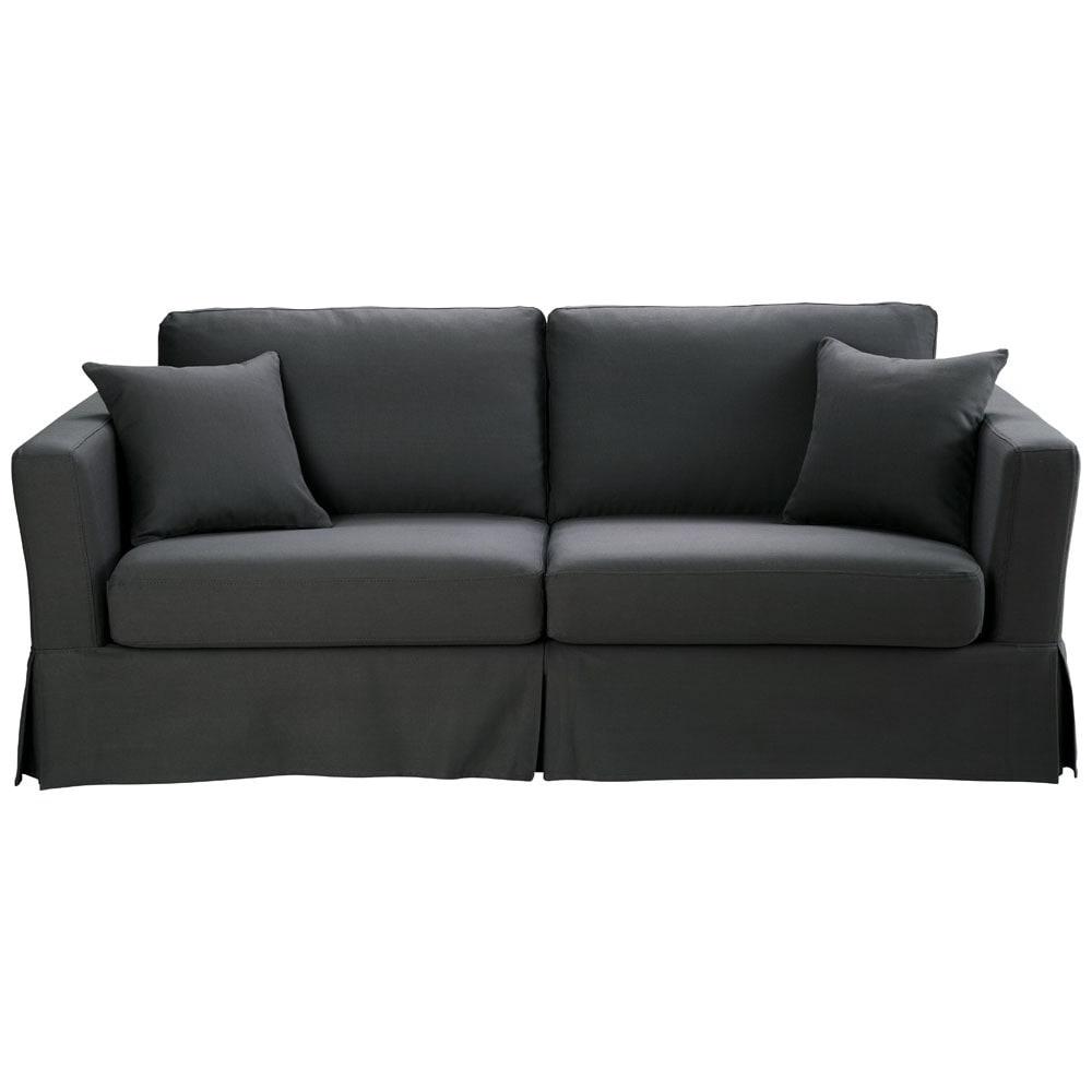 divano trasformabile grigio ardesia in cotone 3 posti. Black Bedroom Furniture Sets. Home Design Ideas
