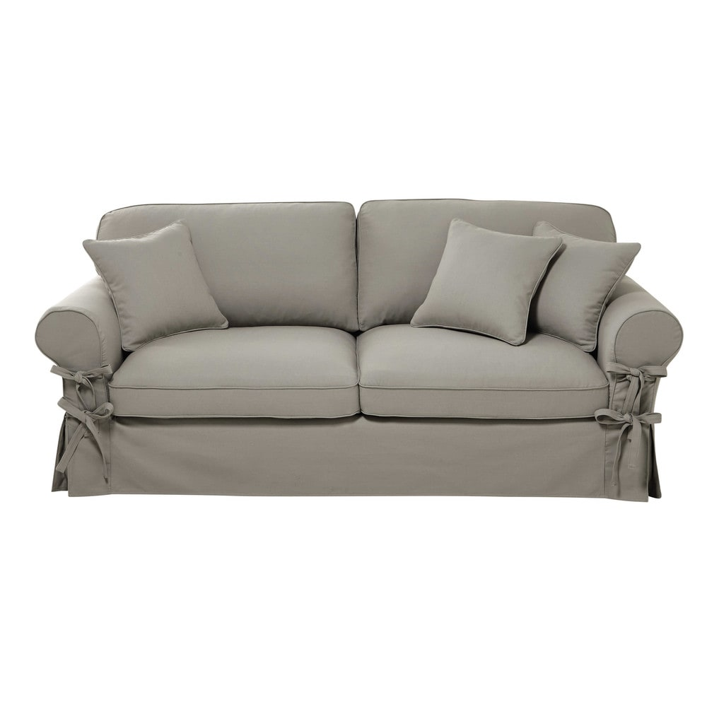 Divano trasformabile grigio chiaro in cotone 3 4 posti for Divano 4 posti