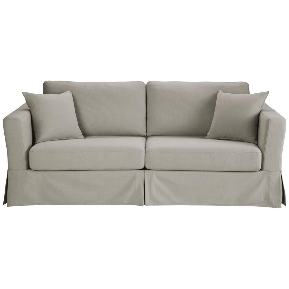 Divano trasformabile grigio chiaro in cotone 3 posti royan - Divano grigio chiaro ...