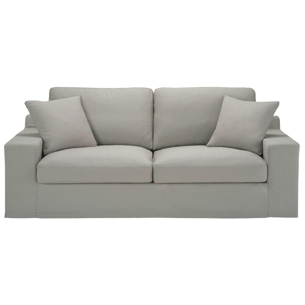 Divano trasformabile grigio chiaro in cotone 3 posti - Divano grigio chiaro ...