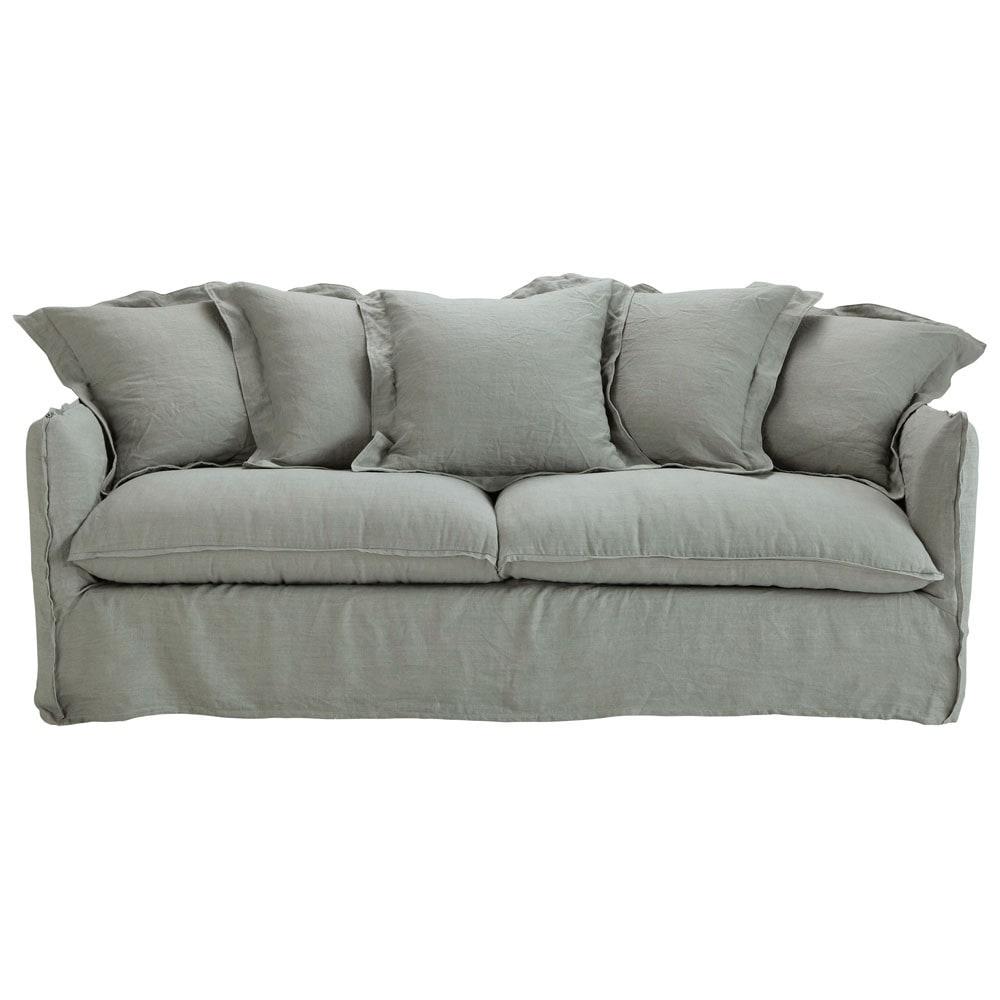 Divano trasformabile grigio chiaro in lino slavato 3 4 - Divano grigio chiaro ...