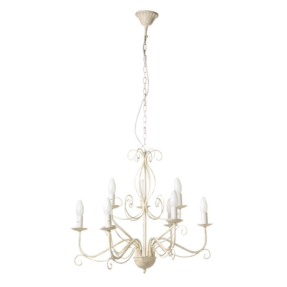 dordogne metal 9 branch chandelier in ivory d 62cm maisons du monde. Black Bedroom Furniture Sets. Home Design Ideas