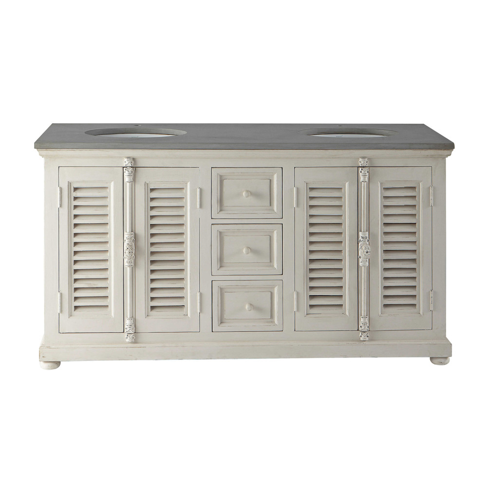 Double Sink Vanity Unit In Wood And Stone L  Cm Castille - Sink with vanity unit