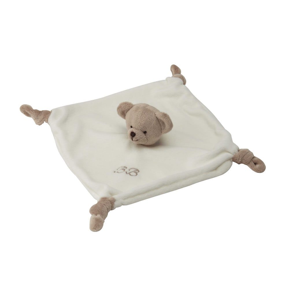doudou enfant ourson en velours blanc beige 23 x 23 cm ourson maisons du monde. Black Bedroom Furniture Sets. Home Design Ideas
