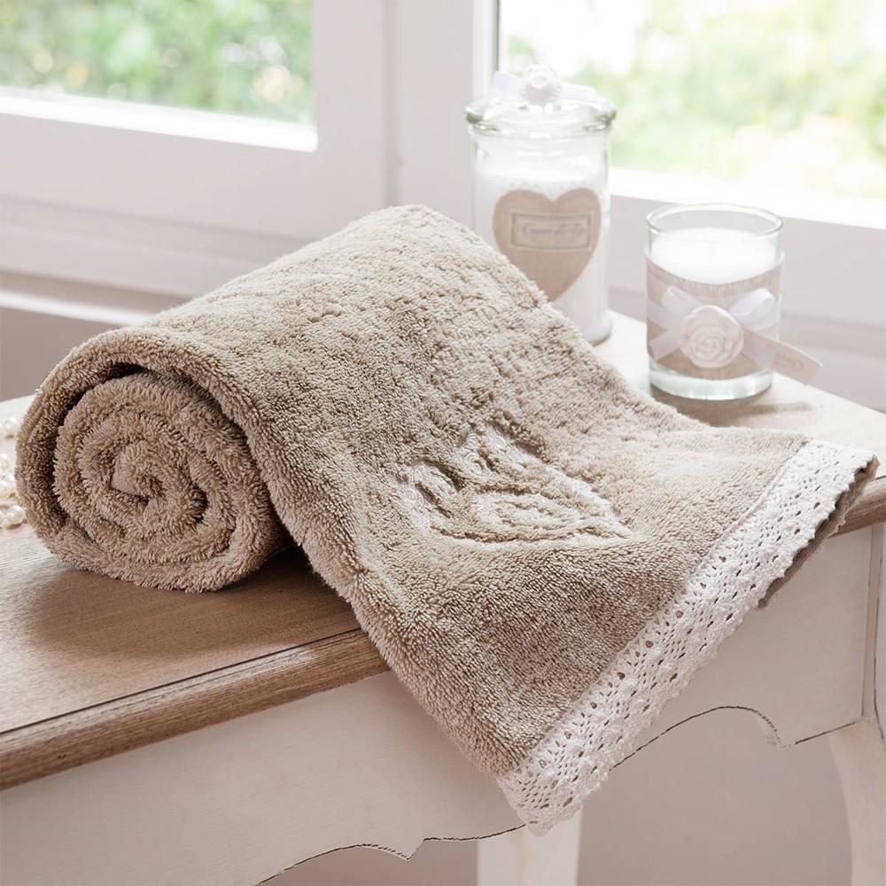 drap de bain en coton beige 100x150 camille maisons du monde. Black Bedroom Furniture Sets. Home Design Ideas