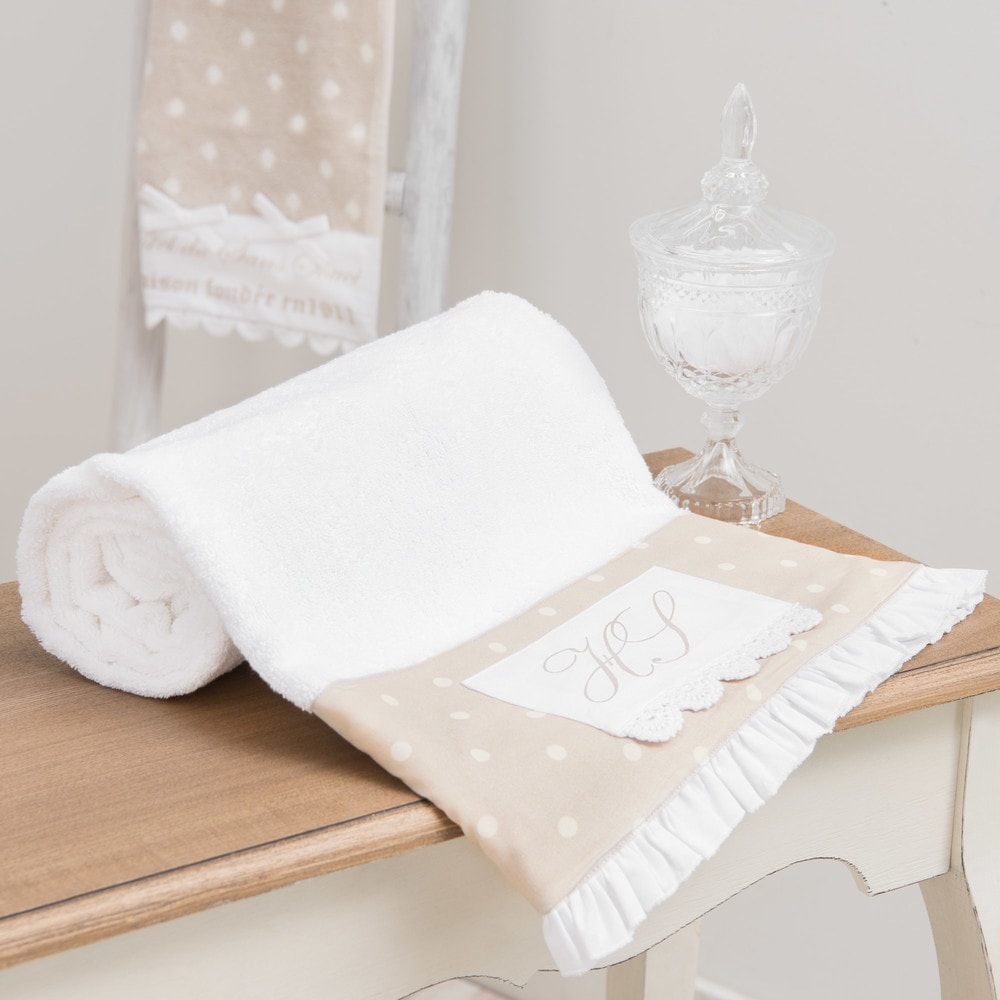 drap de bain en coton beige 100x150 sans souci maisons du monde. Black Bedroom Furniture Sets. Home Design Ideas