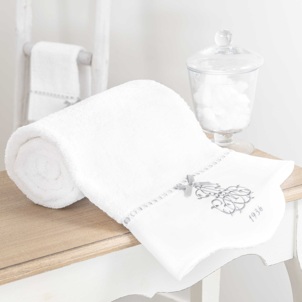 drap de bain en coton blanc 70 x 140 cm si cle maisons. Black Bedroom Furniture Sets. Home Design Ideas