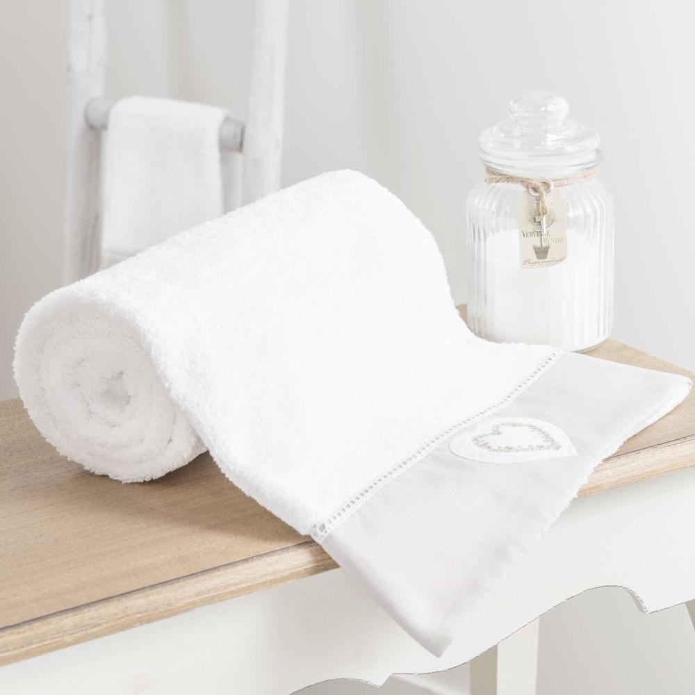 drap de bain en coton blanc 70x140 heart maisons du monde. Black Bedroom Furniture Sets. Home Design Ideas