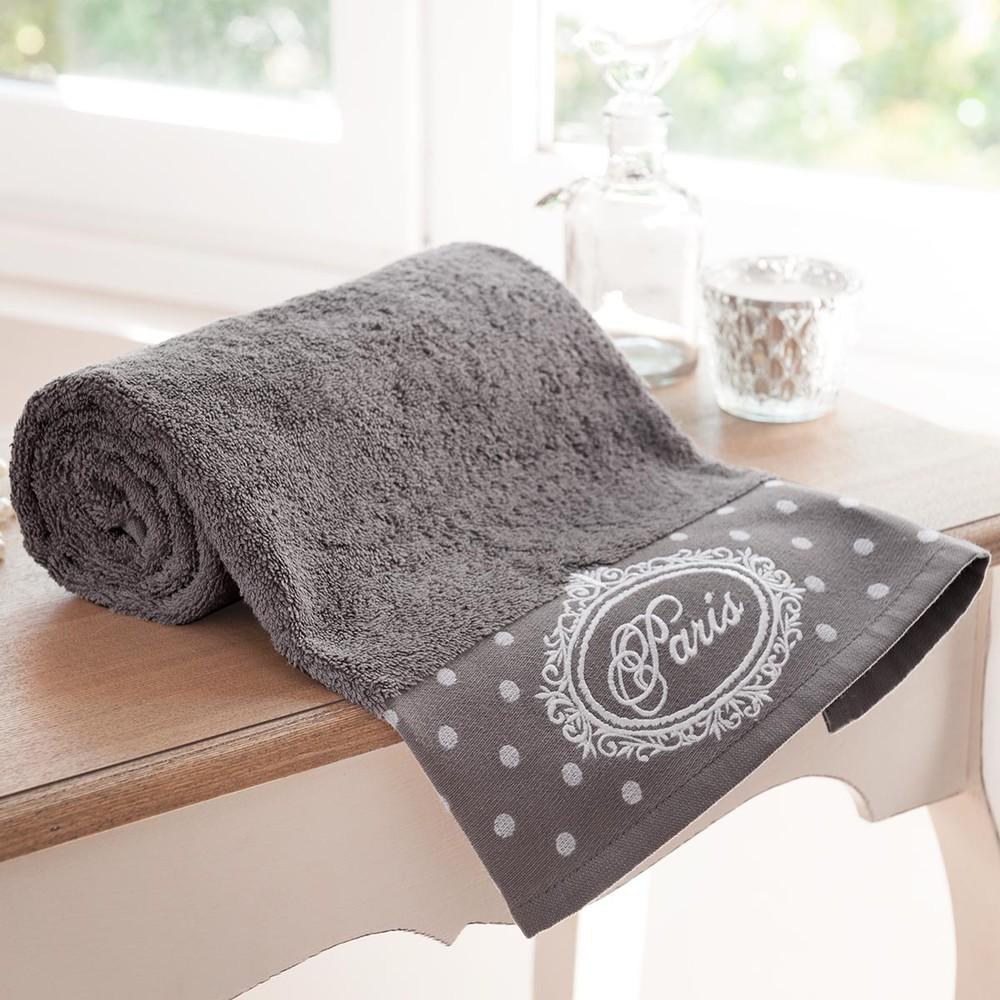 drap de bain en coton gris 70x140 paris maisons du monde. Black Bedroom Furniture Sets. Home Design Ideas