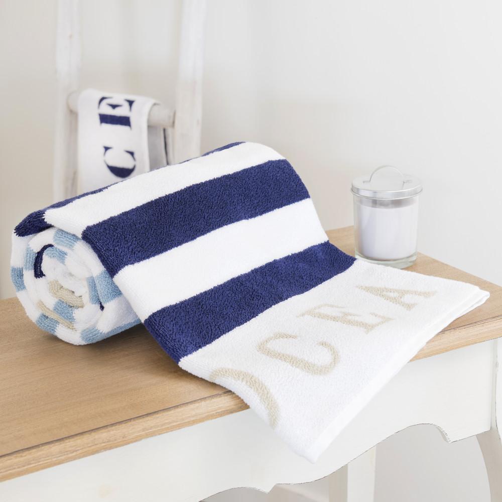 drap de bain ray en coton bleu 50 x 100 cm oc an maisons du monde. Black Bedroom Furniture Sets. Home Design Ideas