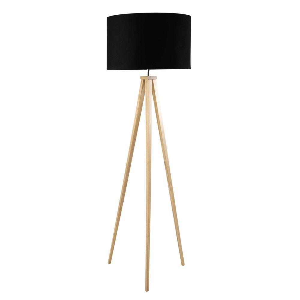 Dreibeinige stehlampe karlsen aus holz und schwarzer for Maison du monde lampe sur pied
