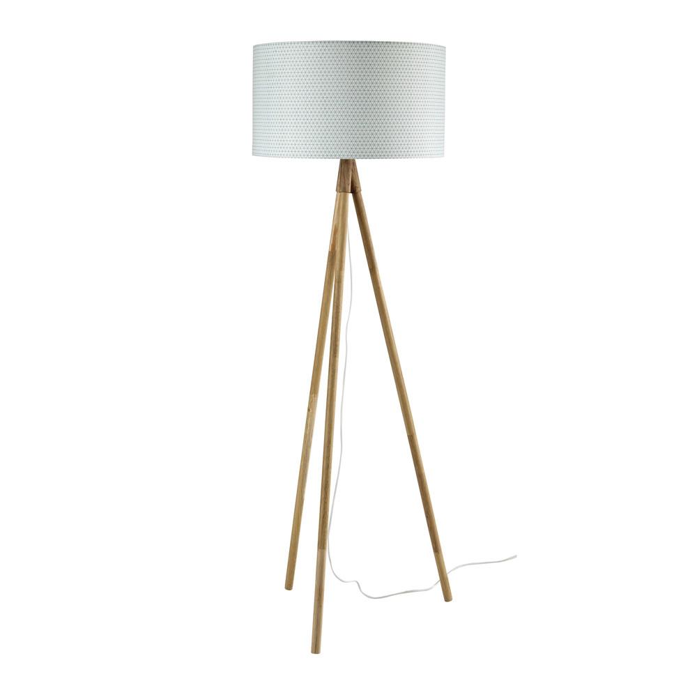 dreibeinige stehlampe scandinave aus eiche und baumwolle. Black Bedroom Furniture Sets. Home Design Ideas
