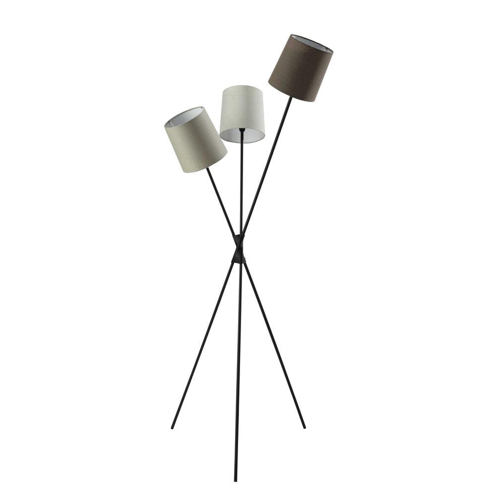 dreibeinige stehleuchte camaret aus metall und baumwolle. Black Bedroom Furniture Sets. Home Design Ideas