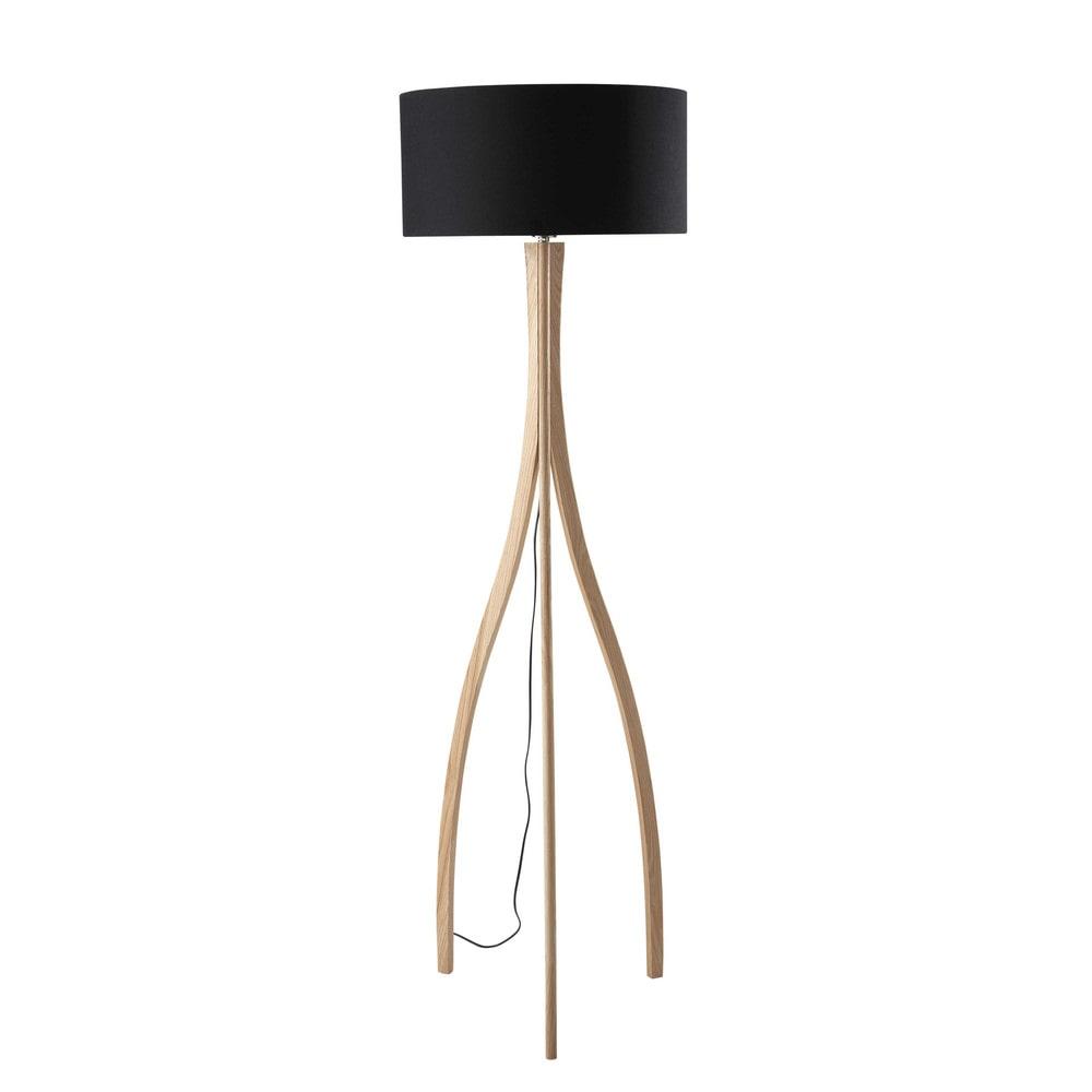 dreibeinige stehleuchte sven aus holz und baumwolle h 161. Black Bedroom Furniture Sets. Home Design Ideas