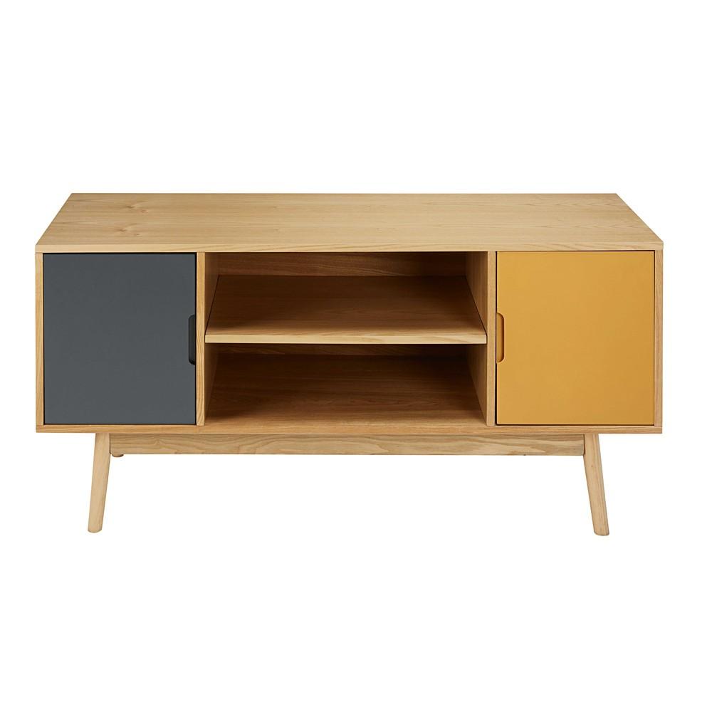 dreifarbiges tv m bel im vintage stil mit 2 t ren fjord. Black Bedroom Furniture Sets. Home Design Ideas