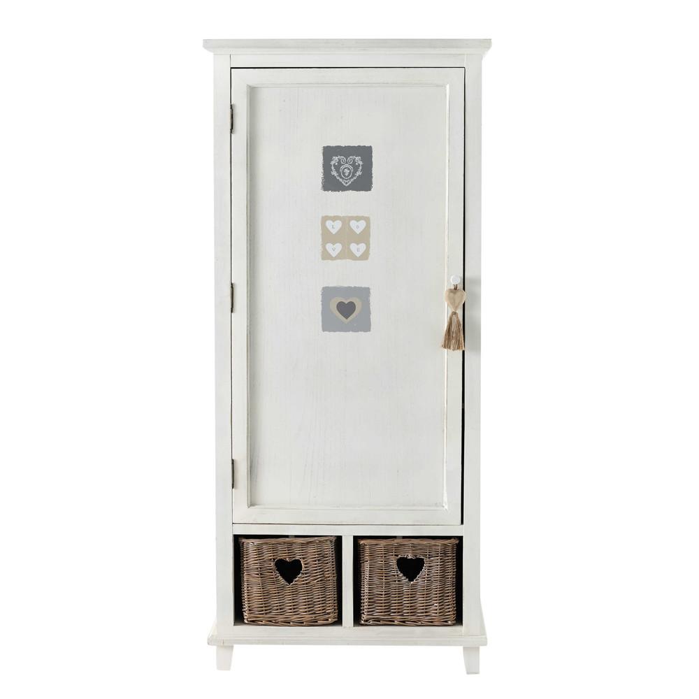 Dressing 1 porte c ur en bois blanc l 80 cm gabrielle for Porte bois blanc