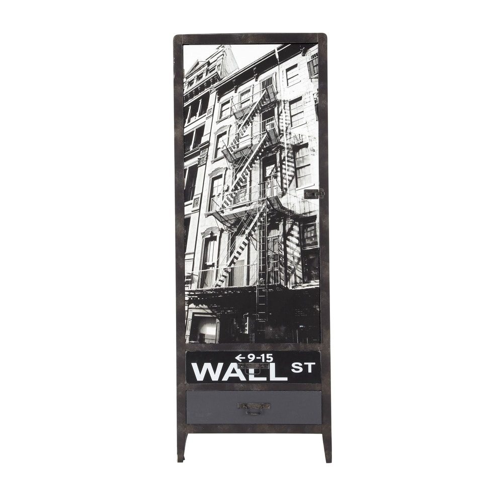 dressing en bois effet m tal noir l 65 cm wall street. Black Bedroom Furniture Sets. Home Design Ideas