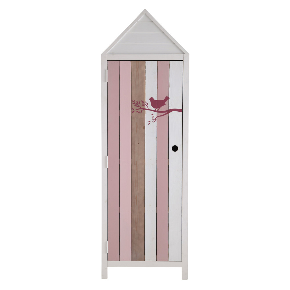 dressing enfant cabine de plage en bois blanc et rose l 60 cm violette maisons du monde. Black Bedroom Furniture Sets. Home Design Ideas