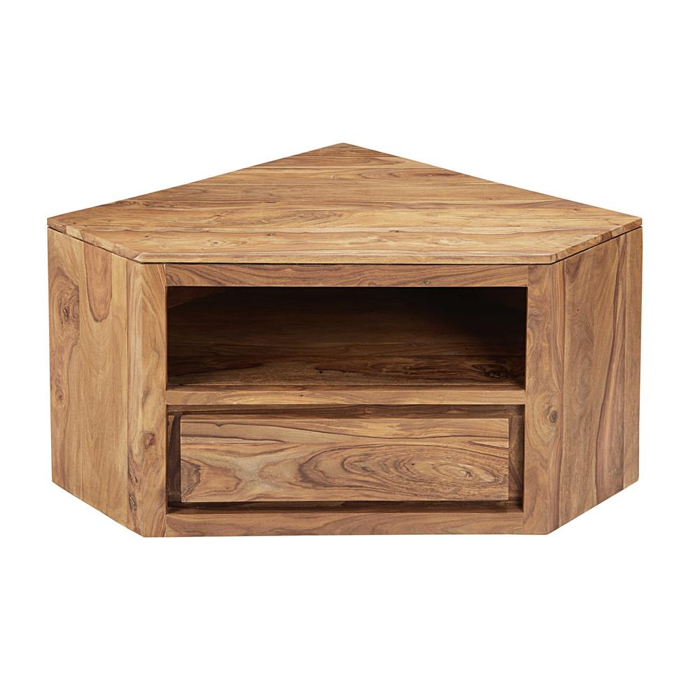 eck tv m bel mit 1 schublade aus massivem sheeshamholz. Black Bedroom Furniture Sets. Home Design Ideas