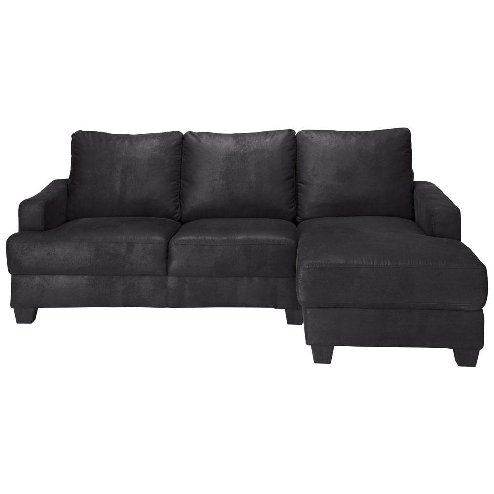 ecksofa 3 4 sitzer aus microsuede mit ecke rechts schwarz philadelphie maisons du monde. Black Bedroom Furniture Sets. Home Design Ideas