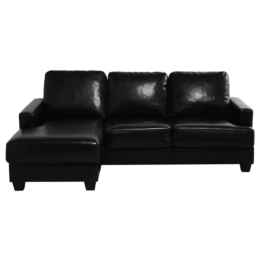 ecksofa 3 4 sitzig aus kunstleder mit ecke links schwarz. Black Bedroom Furniture Sets. Home Design Ideas