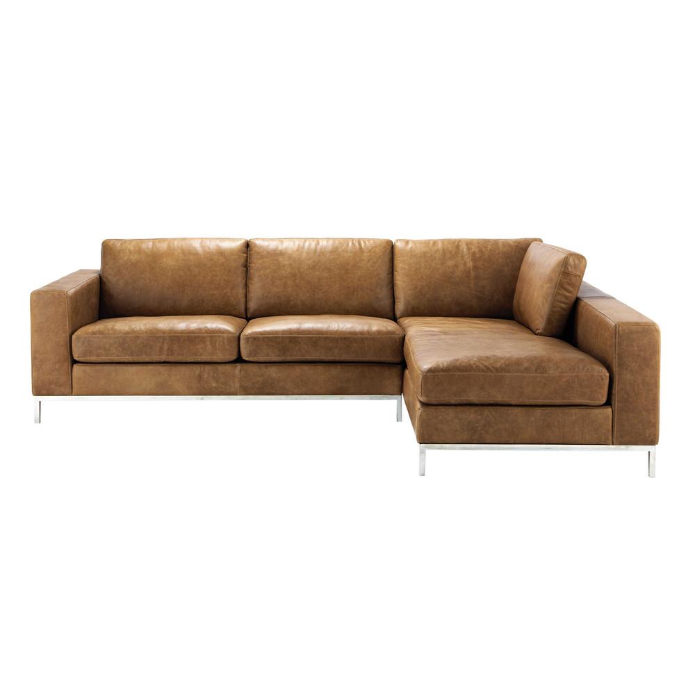 ecksofa 4 sitzer im vintage stil aus leder camelfarben jack maisons du monde. Black Bedroom Furniture Sets. Home Design Ideas