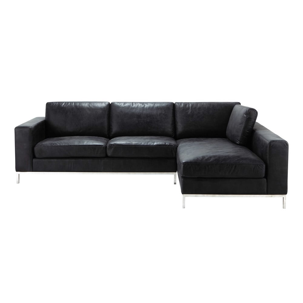 ecksofa 4 sitzer im vintage stil aus leder schwarz jack maisons du monde. Black Bedroom Furniture Sets. Home Design Ideas