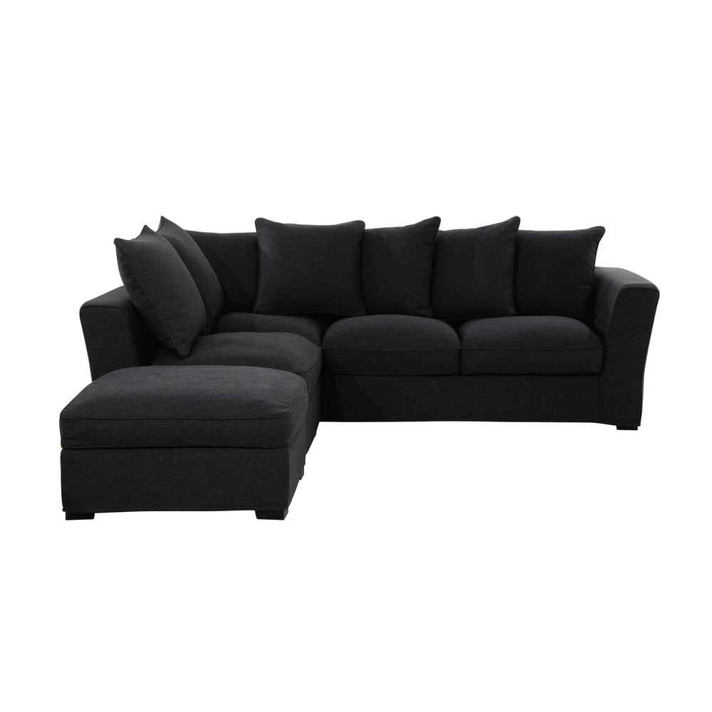 ecksofa 5 sitzer aus monet leinen anthrazit balthazar. Black Bedroom Furniture Sets. Home Design Ideas