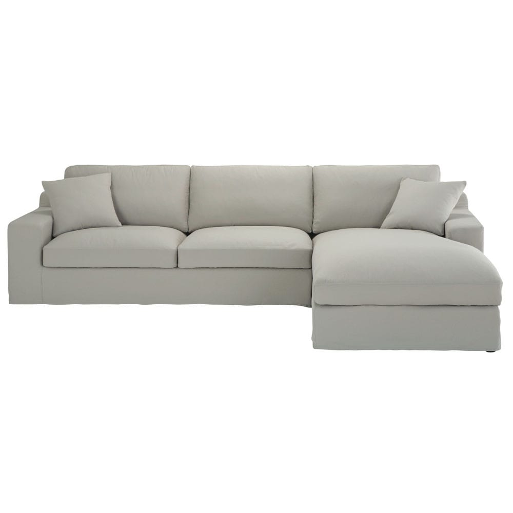 ecksofa 5 sitzer mit ecke rechts aus baumwolle hellgrau stuart maisons du monde. Black Bedroom Furniture Sets. Home Design Ideas