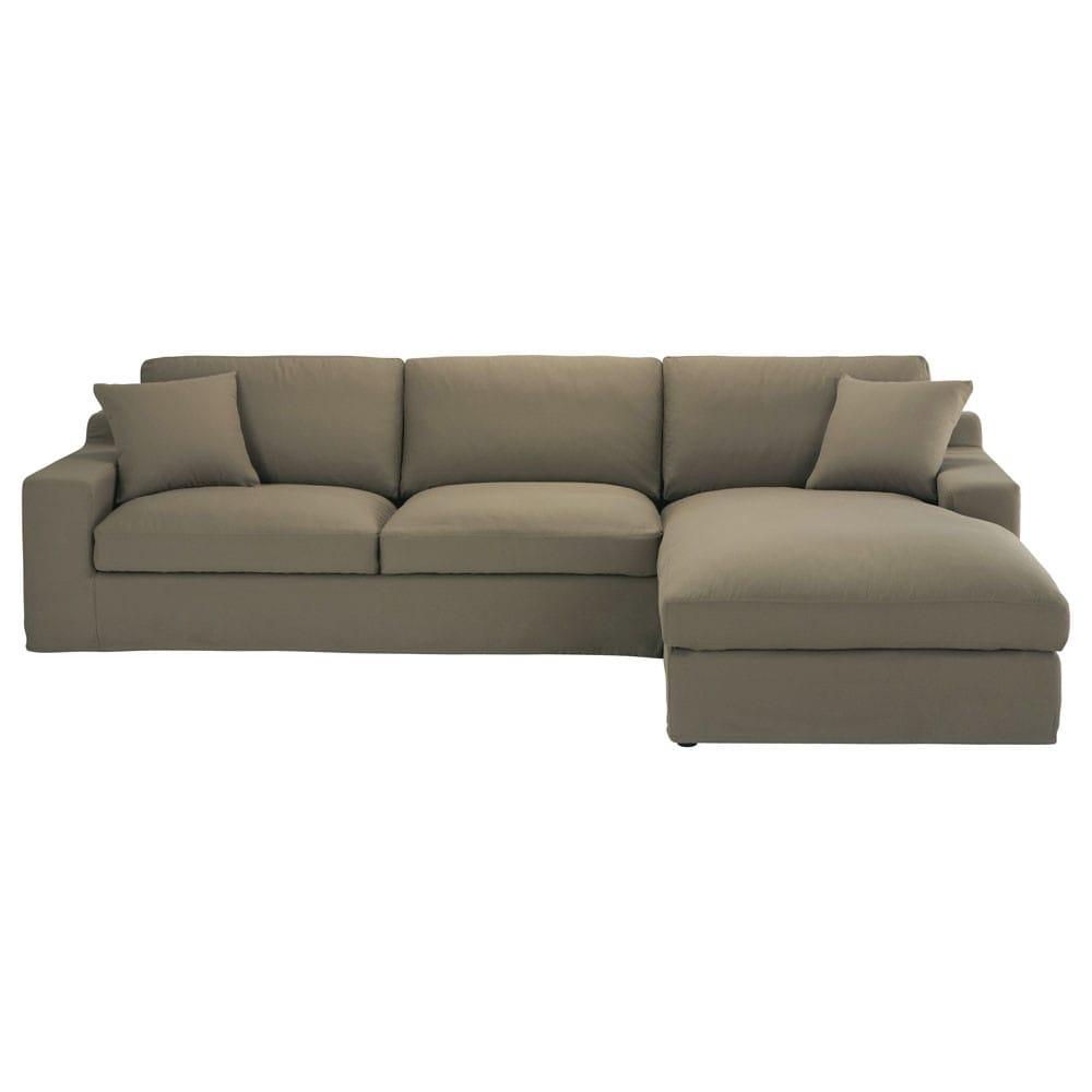 ecksofa 5 sitzer mit ecke rechts aus baumwolle taupe stuart maisons du monde. Black Bedroom Furniture Sets. Home Design Ideas