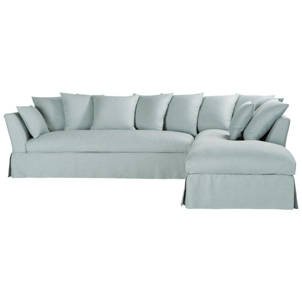 ecksofa 5 sitzer nicht ausziehbar leinen blau mit. Black Bedroom Furniture Sets. Home Design Ideas