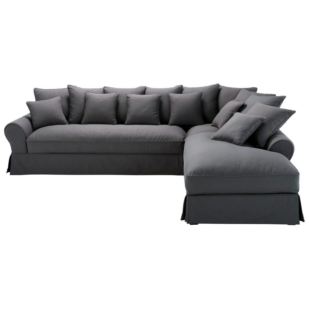 ecksofa 6 sitzer mit ecke rechts aus baumwolle schiefergrau bastide maisons du monde. Black Bedroom Furniture Sets. Home Design Ideas