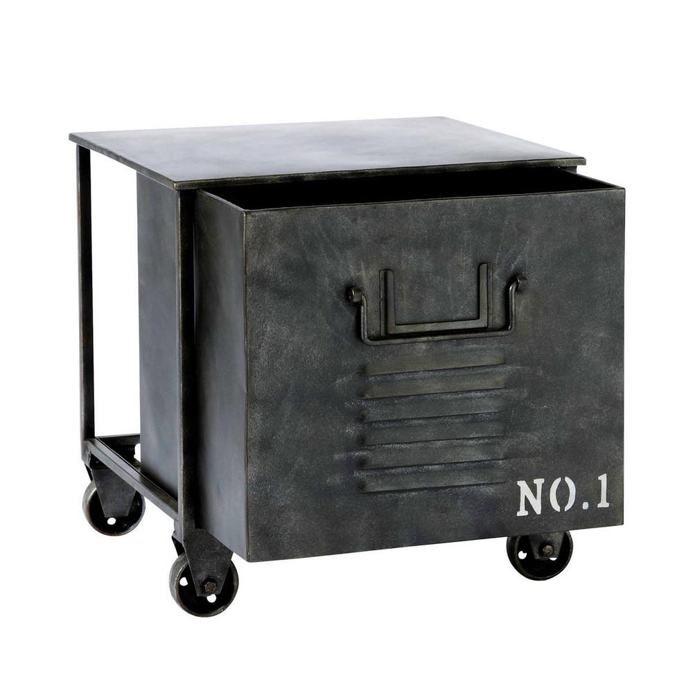 Edison Metal Industrial Side Table On Castors W 39cm