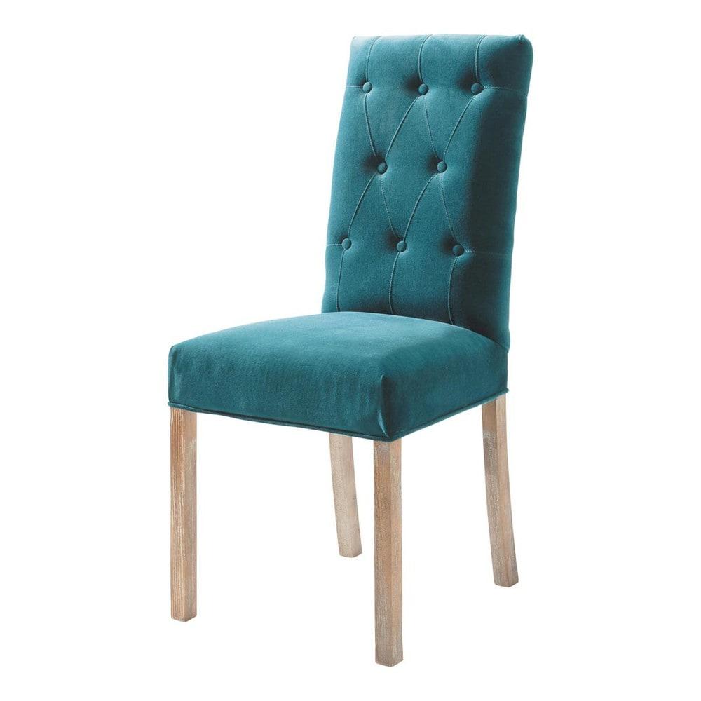 Eendenblauwe fluwelen en houten gestoffeerde stoel elizabeth maisons du monde - Smeedijzeren stoel en houten ...