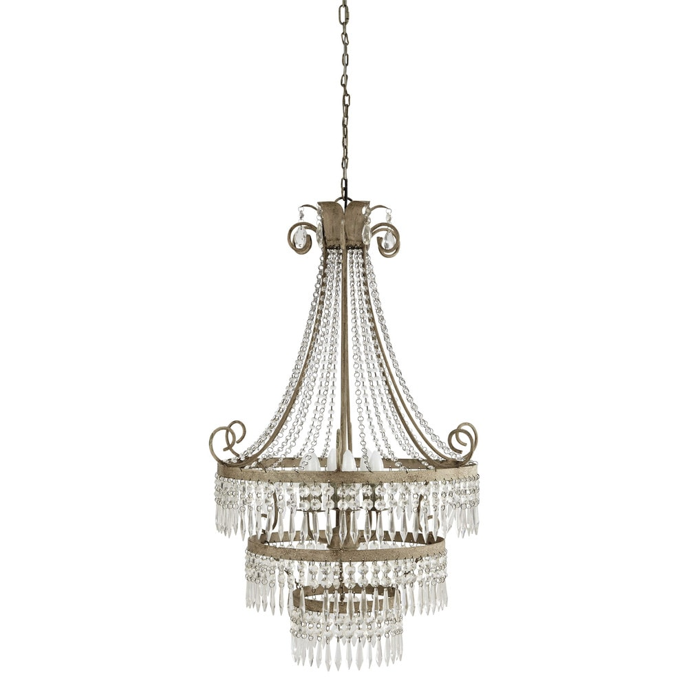 l onore metal droplet chandelier in grey d 69cm maisons du monde. Black Bedroom Furniture Sets. Home Design Ideas