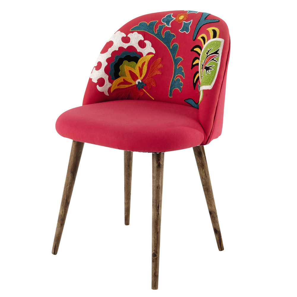 embroidered cotton and sheesham wood vintage chair in pink