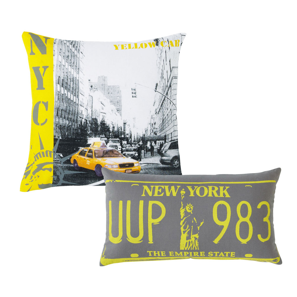 Ensemble de 2 coussins nyc maisons du monde for Decoration murale geante new york