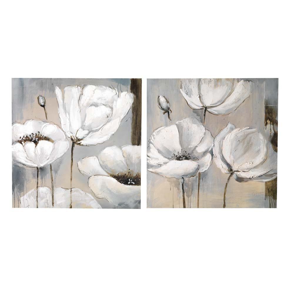 ensemble de 2 toiles flora maisons du monde. Black Bedroom Furniture Sets. Home Design Ideas