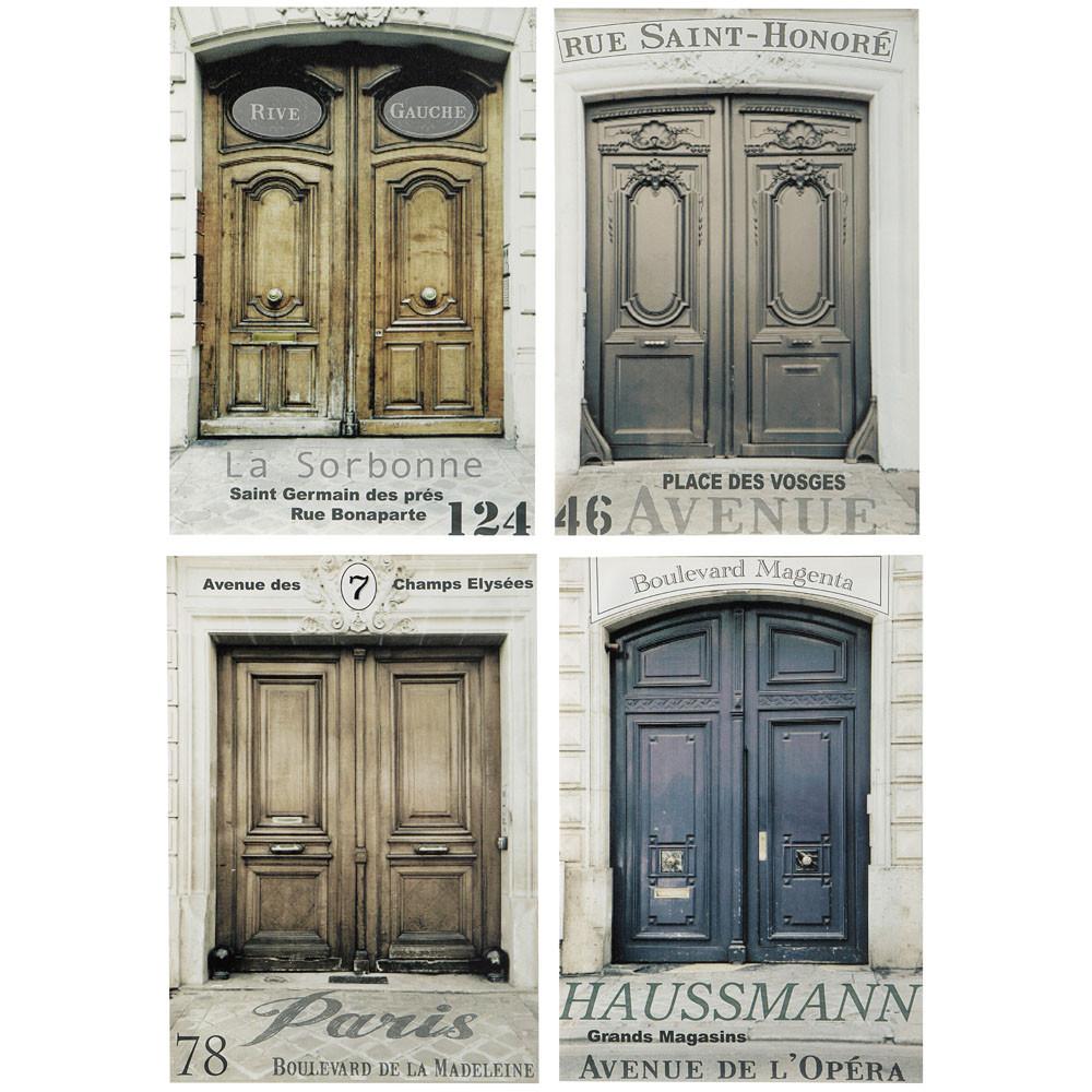 Ensemble de 4 toiles portes haussmann maisons du monde for Porte haussmannienne