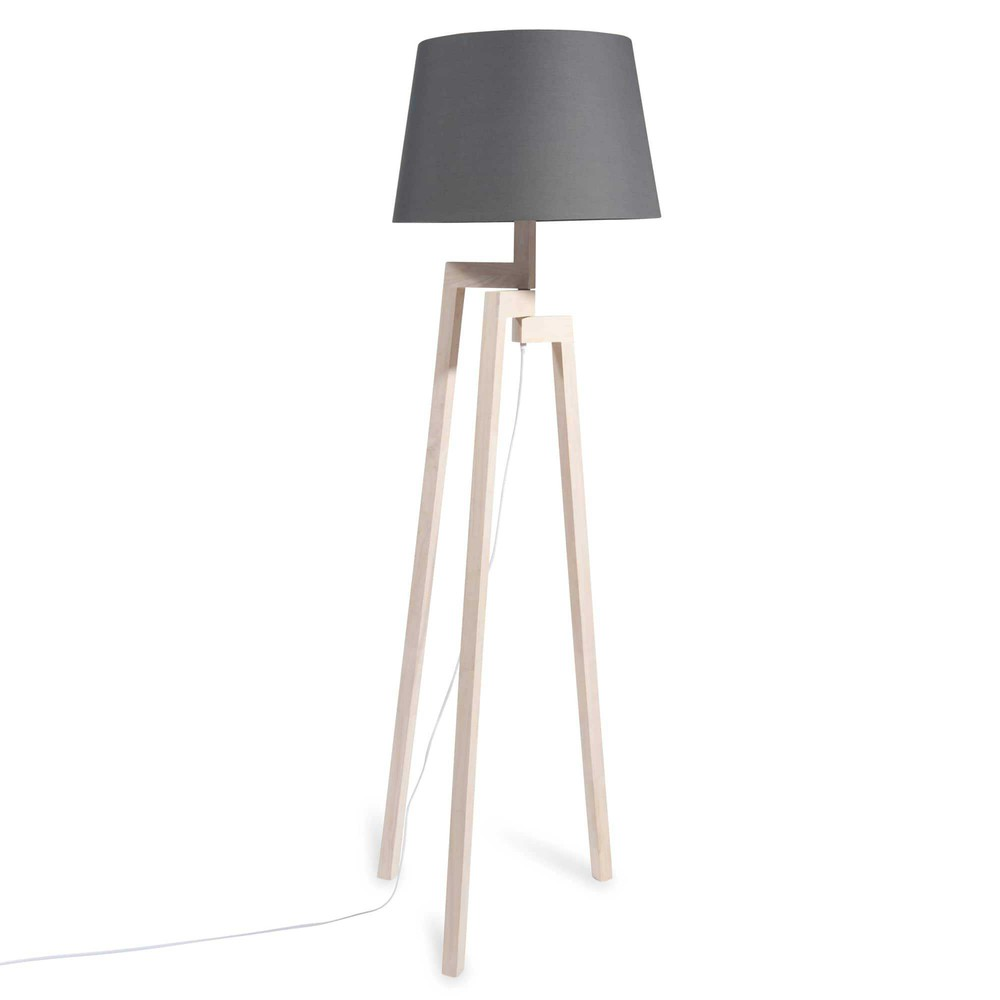 Escale rubber tree wood tripod floor lamp with navy shade for Wood tree floor lamp
