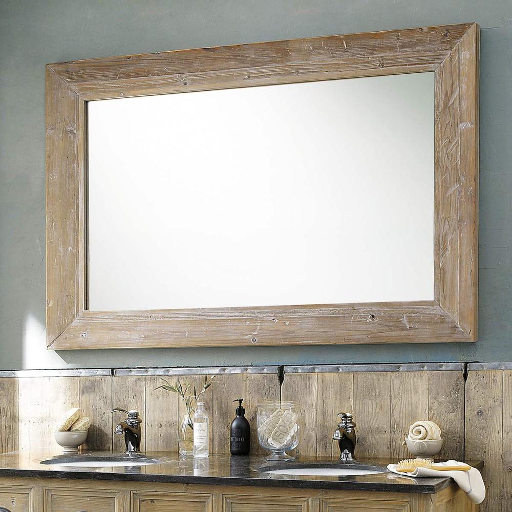 Espejo de madera blanqueada al 200 cm cancale maisons for Espejo maison du monde