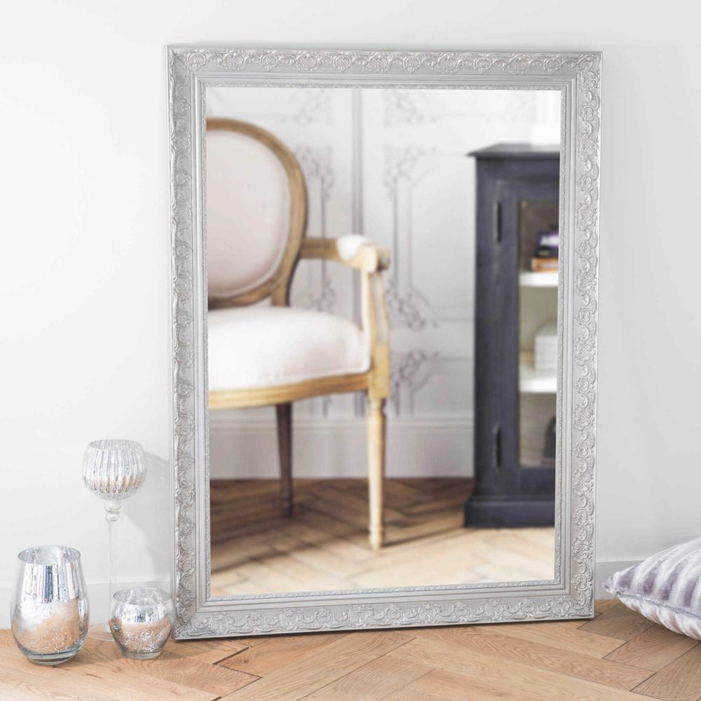 Espejo de madera de paulonia plateado al 120 cm valentine for Espejo vintage plateado